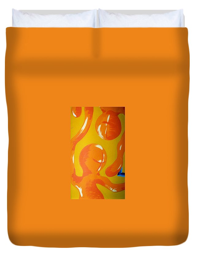 Duvet Cover featuring the painting Soul Figures 6 by Catt Kyriacou