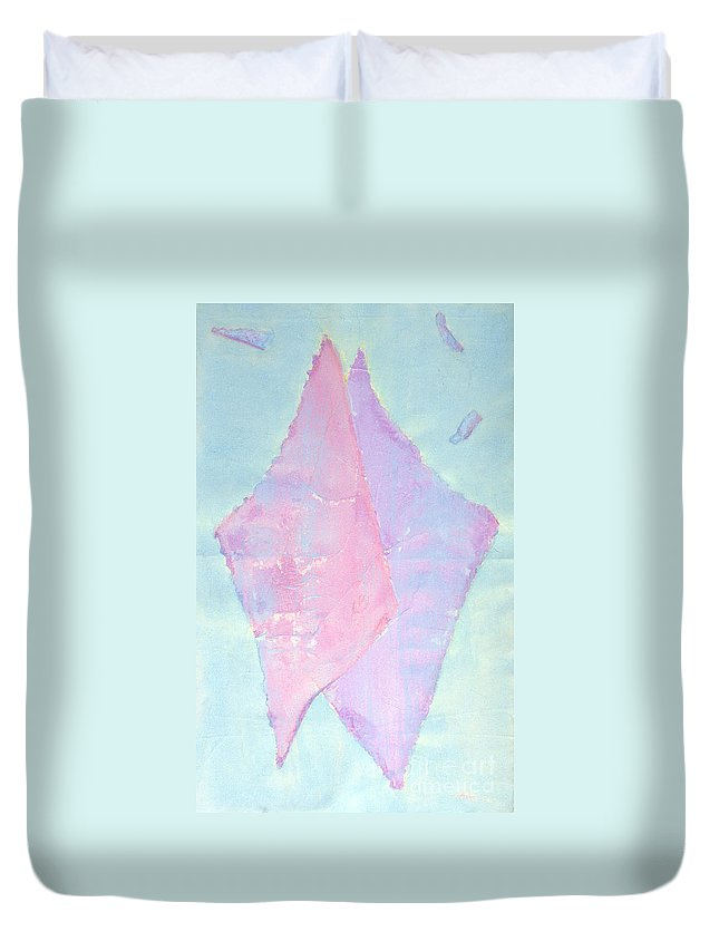 Abstract Painting Duvet Cover featuring the painting Soul Mates Meeting by Asha Carolyn Young