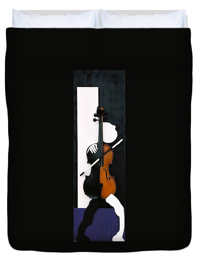 Violin Duvet Cover featuring the sculpture Soul Of Music by Steve Karol