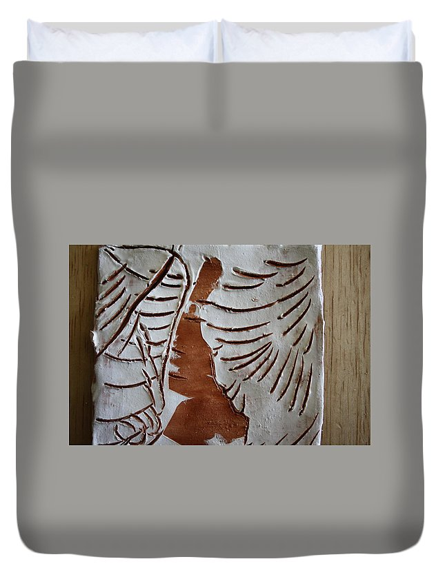 Jesus Duvet Cover featuring the ceramic art Souls Window - Tile by Gloria Ssali
