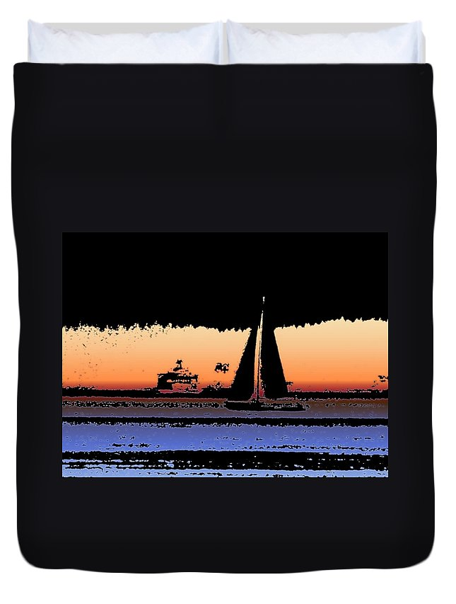 Seattle Duvet Cover featuring the photograph Sound Sailin 2 by Tim Allen