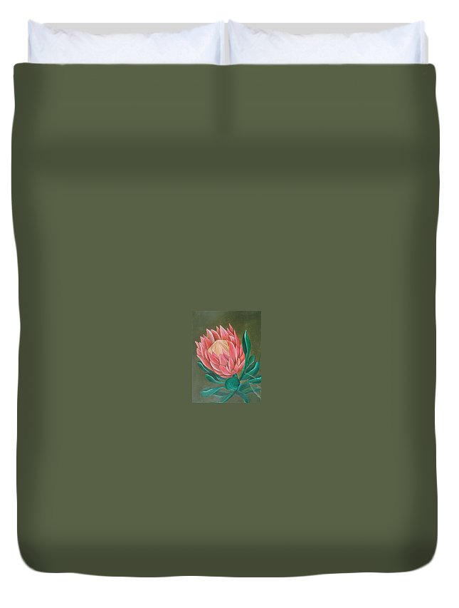 Flower Duvet Cover featuring the painting South Africa Protea by Perola Oliveira