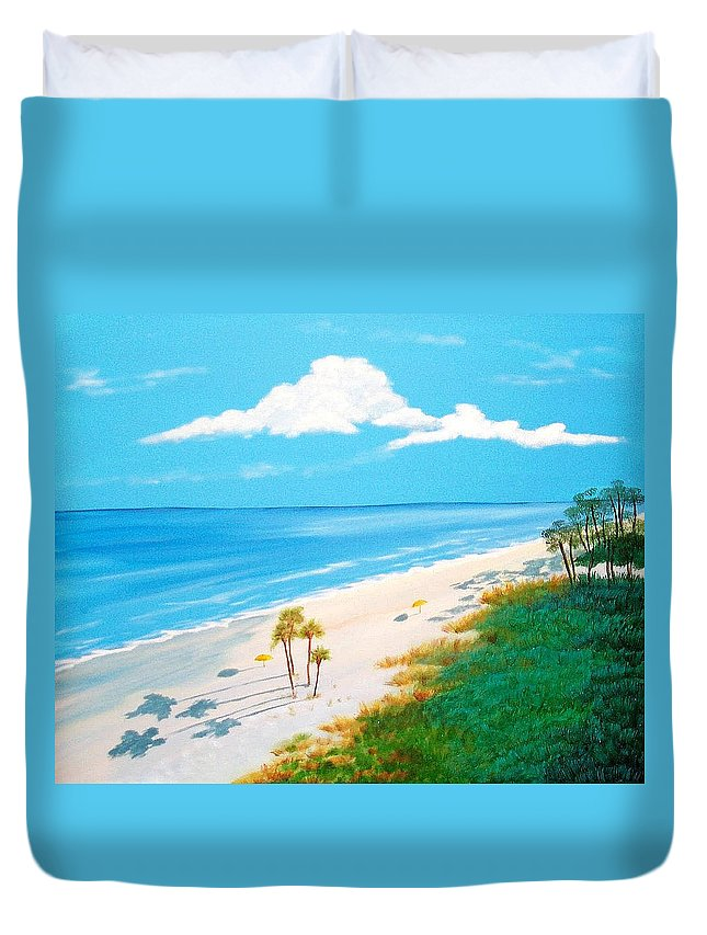 Beach Duvet Cover featuring the painting South Carolina Beach by Nancy Nuce
