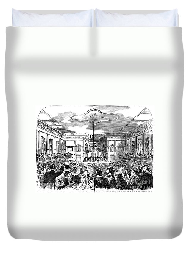 1860 Duvet Cover featuring the photograph South Carolina: Secession by Granger