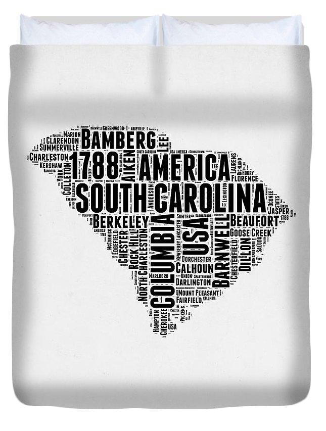 South Carolina Duvet Cover featuring the digital art South Carolina Word Cloud 1 by Naxart Studio