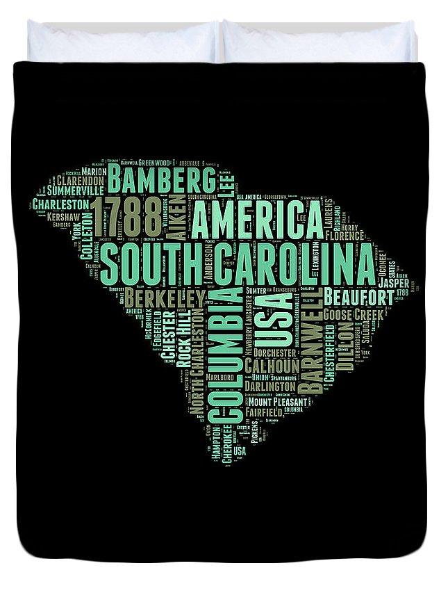 South Carolina Duvet Cover featuring the digital art South Carolina Word Cloud 2 by Naxart Studio