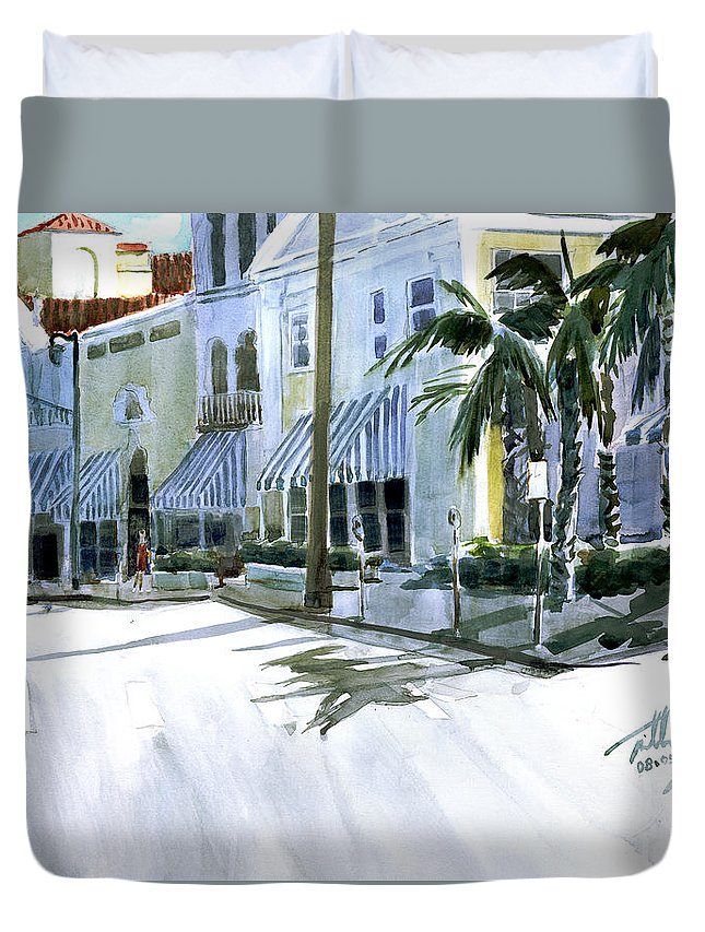 Landscape Duvet Cover featuring the painting South County Road by Thomas Tribby