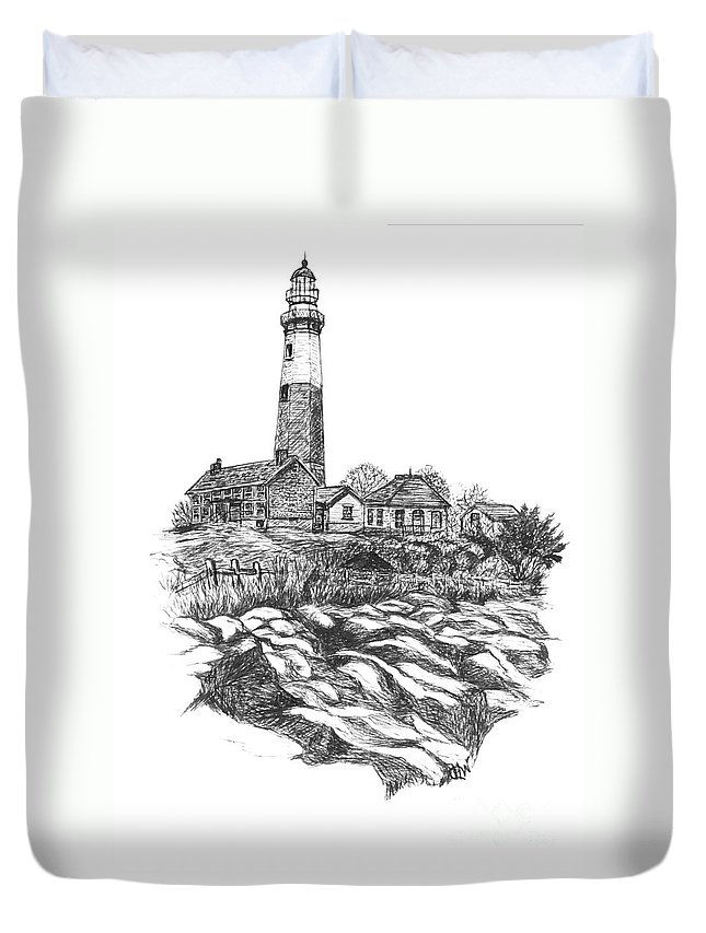 Lighthouse Duvet Cover featuring the painting South Fork Lighthouse L I N Y Bw by Carol Wisniewski