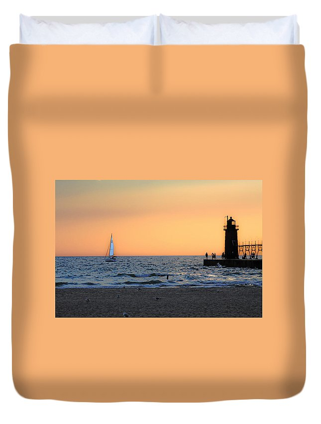 Sunset Duvet Cover featuring the photograph South Haven Sunset by Mauverneen Blevins