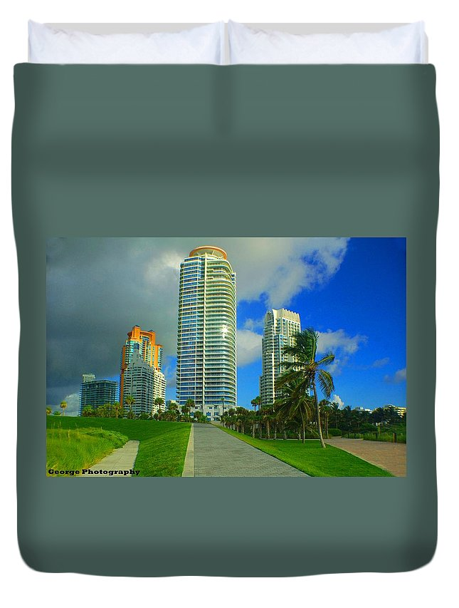 Buildings Duvet Cover featuring the photograph South Miami Beach by Jorge Cruz