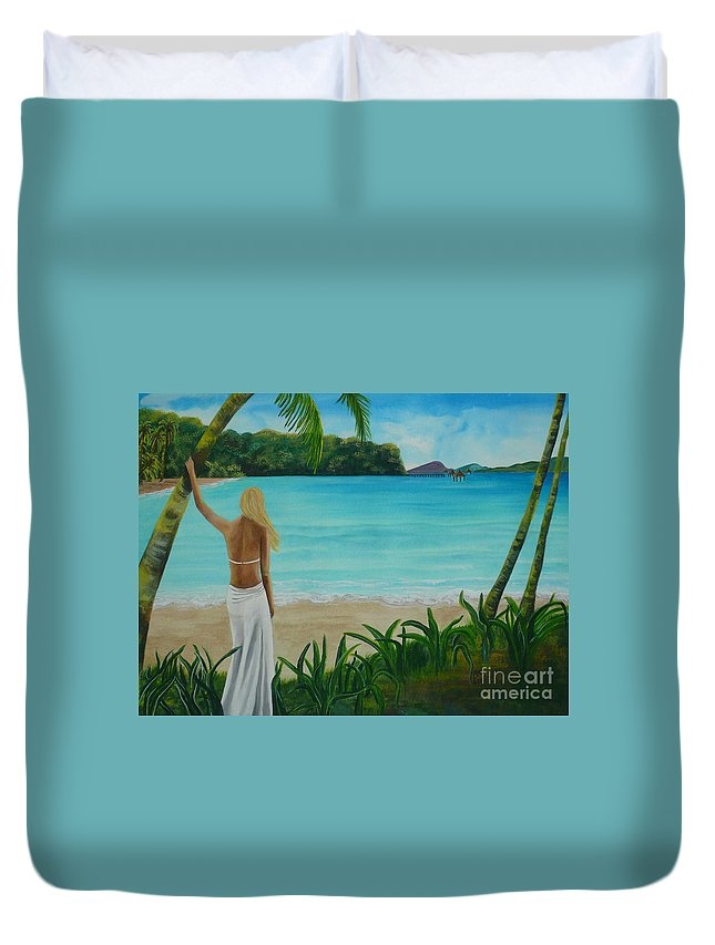 Tropical Duvet Cover featuring the painting South Pacific Dreamin by Kris Crollard