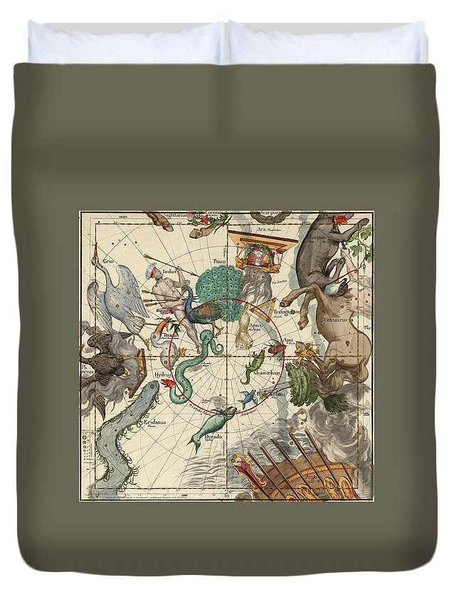South Pole Duvet Cover featuring the painting South Pole by Ignace-Gaston Pardies
