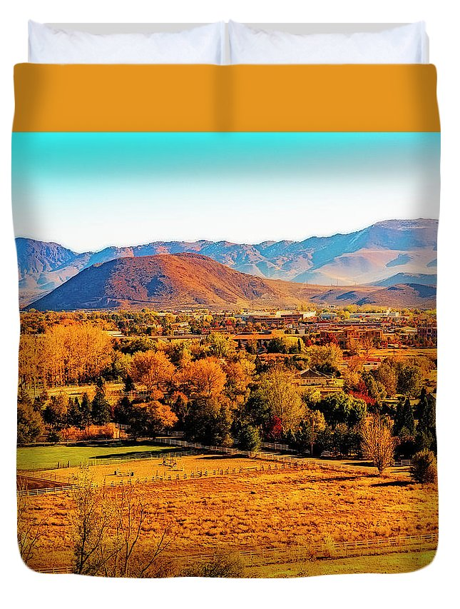 Trees Duvet Cover featuring the photograph South Reno In Fall by Nancy Marie Ricketts