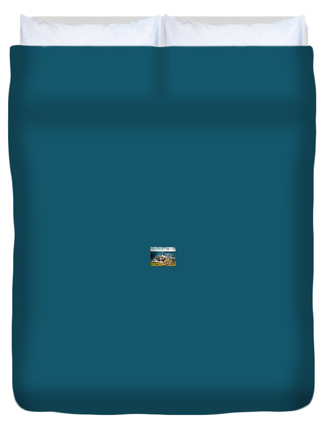 South Stack Lighthouse Duvet Cover featuring the painting South Stack Lighthouse by Derek Mccrea