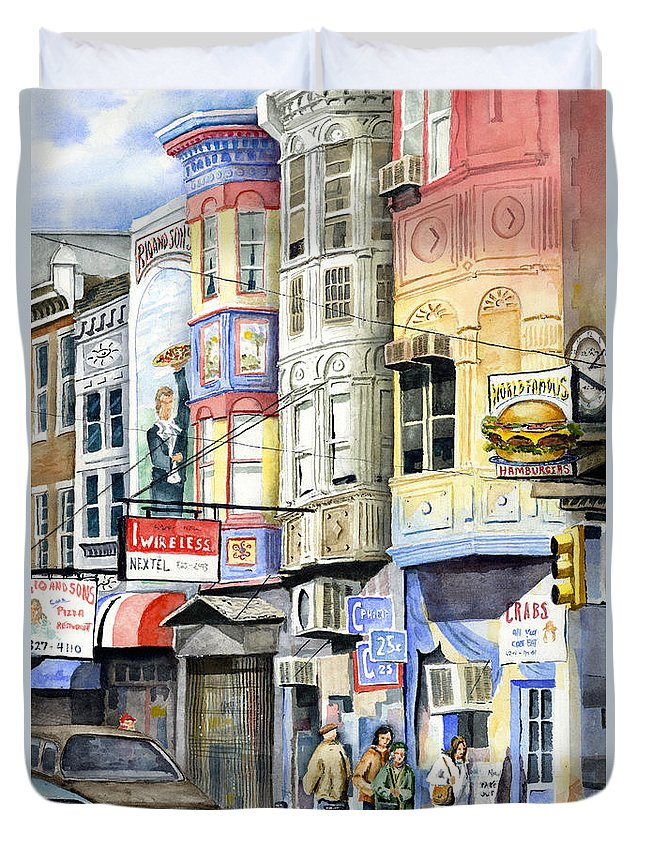 Street Duvet Cover featuring the painting South Street by Sam Sidders