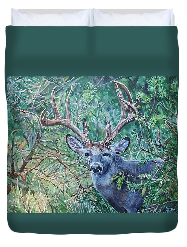 Deer Duvet Cover featuring the painting South Texas Deer In Thick Brush by Diann Baggett