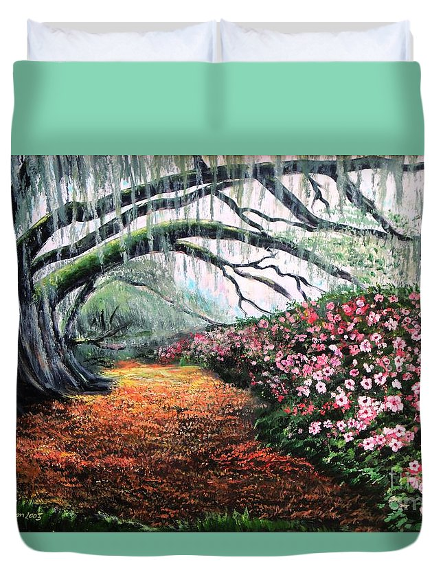 Azalea Duvet Cover featuring the painting Southern Charm Oak And Azalea by Patricia L Davidson