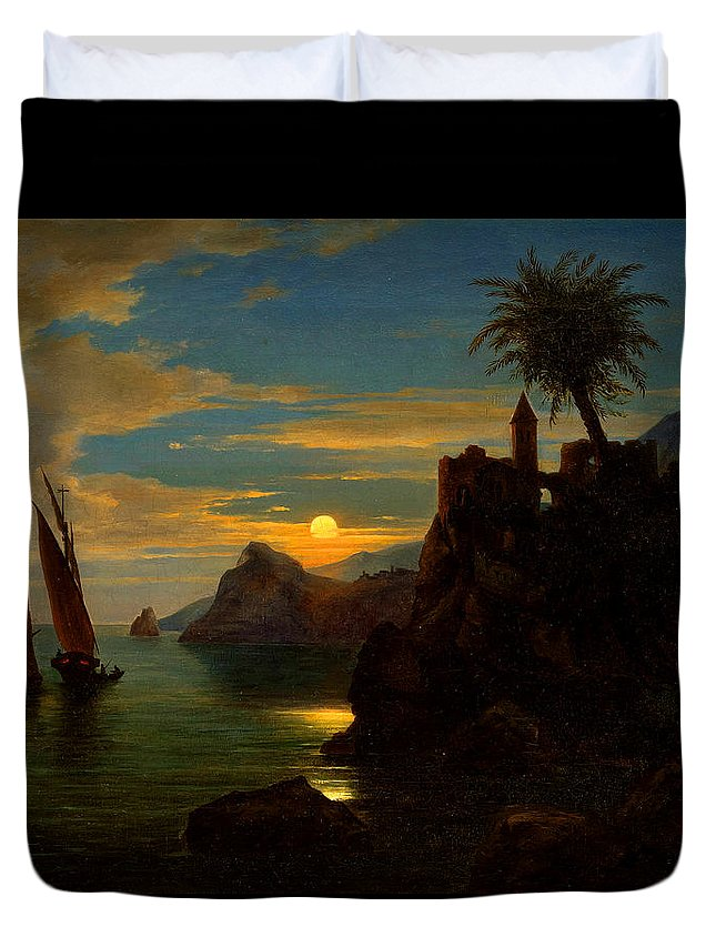 Ferdinand Keller Duvet Cover featuring the painting Southern Coastal View By Moonlight by Georg Kobel