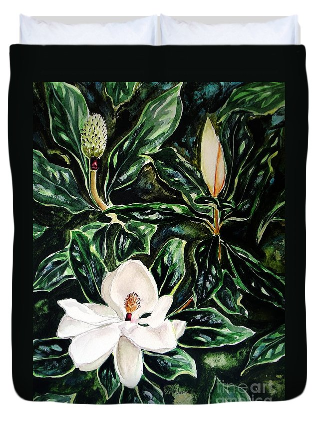 Flower Duvet Cover featuring the painting Southern Magnolia Bud And Bloom by Patricia L Davidson