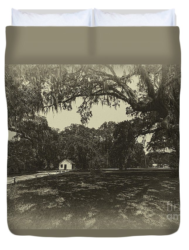 Live Oak Tree Duvet Cover featuring the photograph Southern Plantation Path by Dale Powell