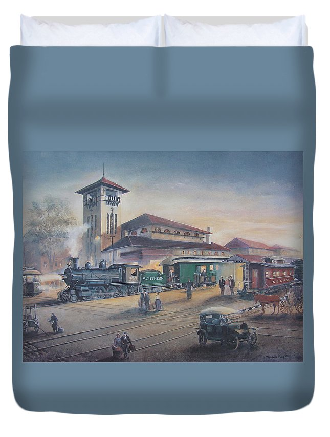 Charles Roy Smith Duvet Cover featuring the painting Southern Railway by Charles Roy Smith