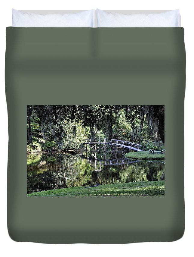 Southern Plantation Duvet Cover featuring the photograph Southern Reflections by Sally Falkenhagen