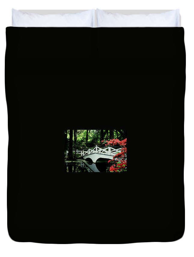 White Bridge Duvet Cover featuring the photograph Southern Splendor by Gary Wonning