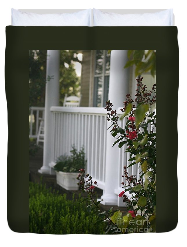 Summer Duvet Cover featuring the photograph Southern Summer Flowers And Porch by Nadine Rippelmeyer