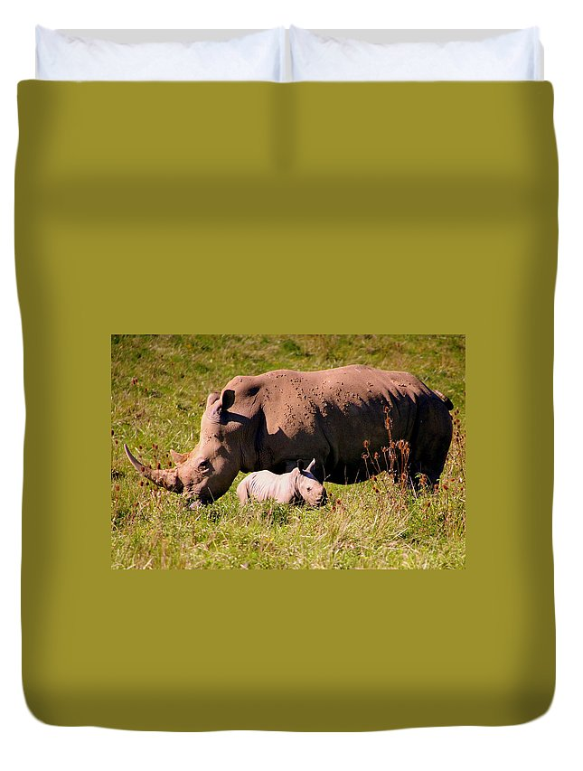 Southern White Rhinoceros Duvet Cover featuring the photograph Southern White Rhino With A Little One by Laurel Talabere
