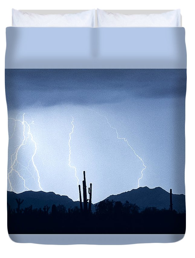 Southwest Duvet Cover featuring the photograph Southwest Desert Lightning Blues by James BO Insogna