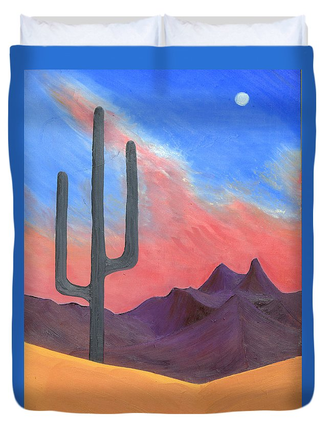 Cactus Duvet Cover featuring the painting Southwest Scene by J R Seymour