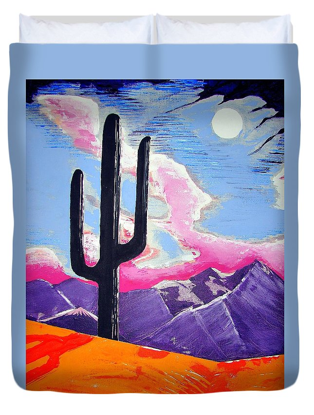 Cactus Duvet Cover featuring the painting Southwest Skies 2 by J R Seymour