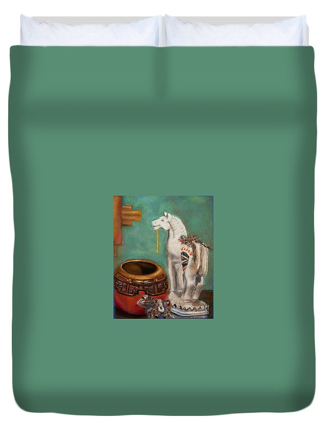 Southwest Art Duvet Cover featuring the painting Southwest Treasures by Frances Marino