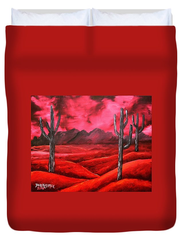 Red Duvet Cover featuring the painting Southwestern Abstract Oil Painting by Derek Mccrea