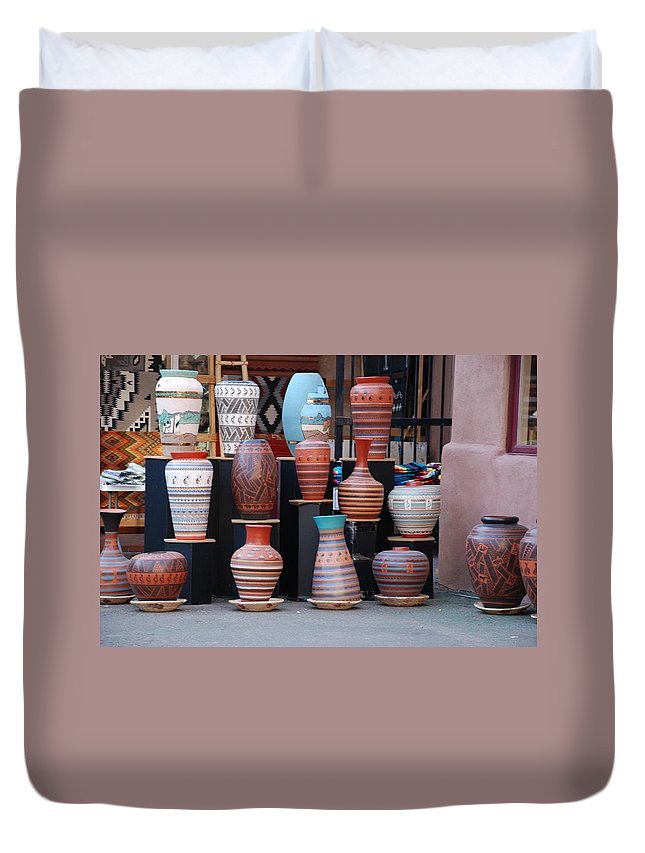 Southwestern Duvet Cover featuring the photograph Southwestern Potery by Rob Hans