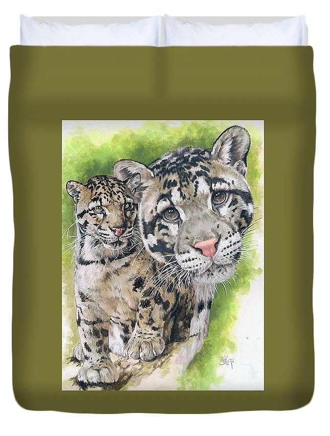 Clouded Leopard Duvet Cover featuring the mixed media Sovereignty by Barbara Keith