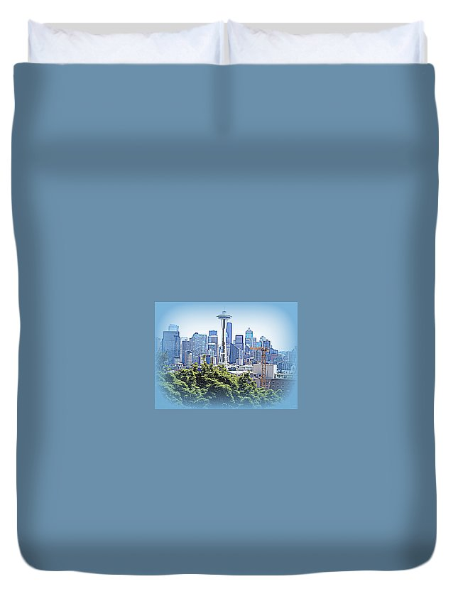 Landscape Duvet Cover featuring the photograph Space Needle 3 by Maro Kentros
