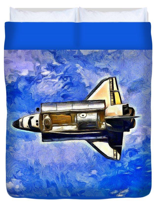 Orbit Duvet Cover featuring the digital art Space Shuttle In Space - Da by Leonardo Digenio