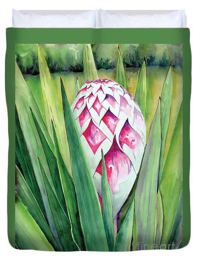 Floral Painting Duvet Cover featuring the painting Spanish Dagger II by Kandyce Waltensperger
