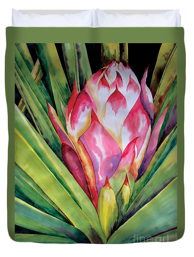 Floral Painting Duvet Cover featuring the painting Spanish Dagger Iv by Kandyce Waltensperger