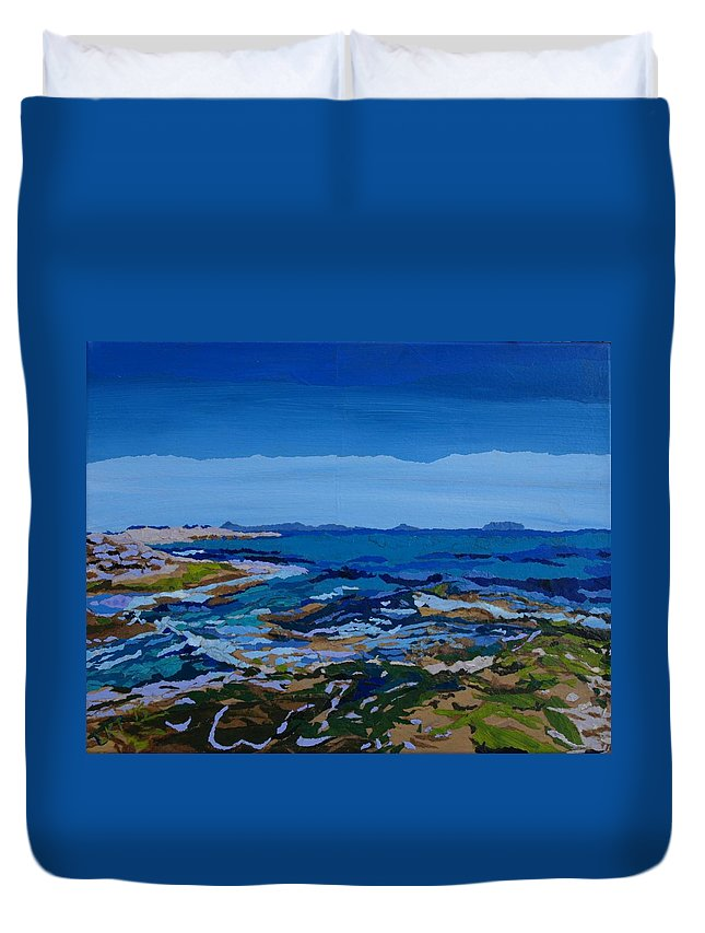 Ocean Duvet Cover featuring the painting Spanish Jewels, 2 by Leah Tomaino