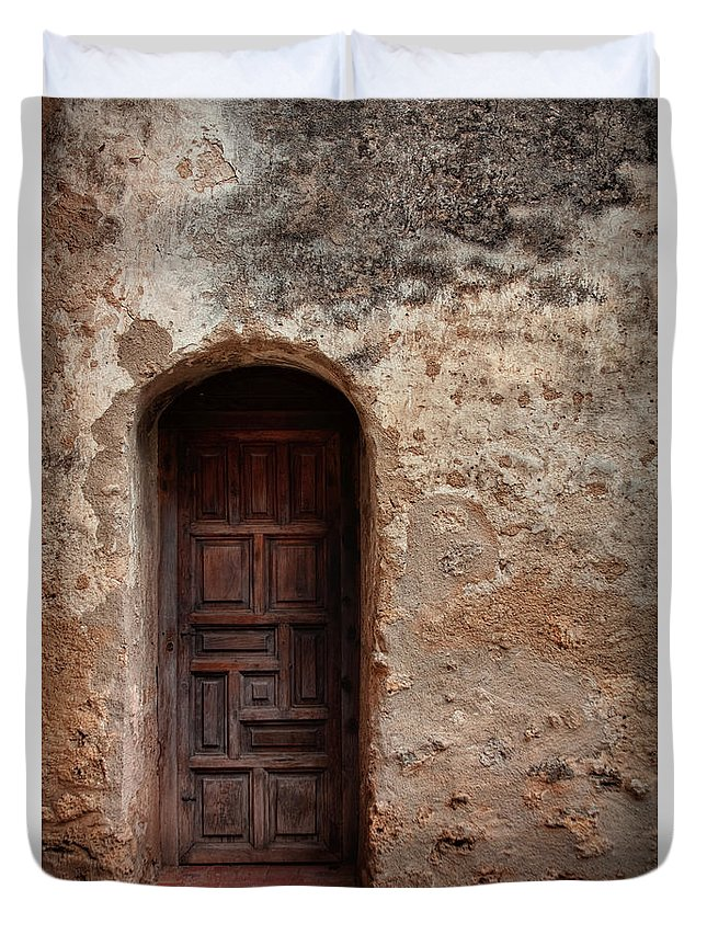 Arch Duvet Cover featuring the photograph Spanish Mission Doorway by David and Carol Kelly