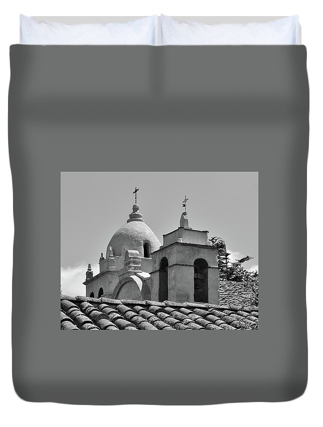 Spanish Mission Carmel By The Sea California Duvet Cover featuring the photograph Spanish Mission by Michael Wirmel