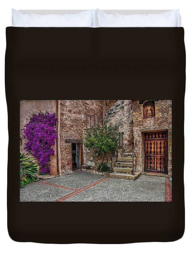 California Duvet Cover featuring the photograph Spanish Mission's Back Entrance. by Patrick Boening