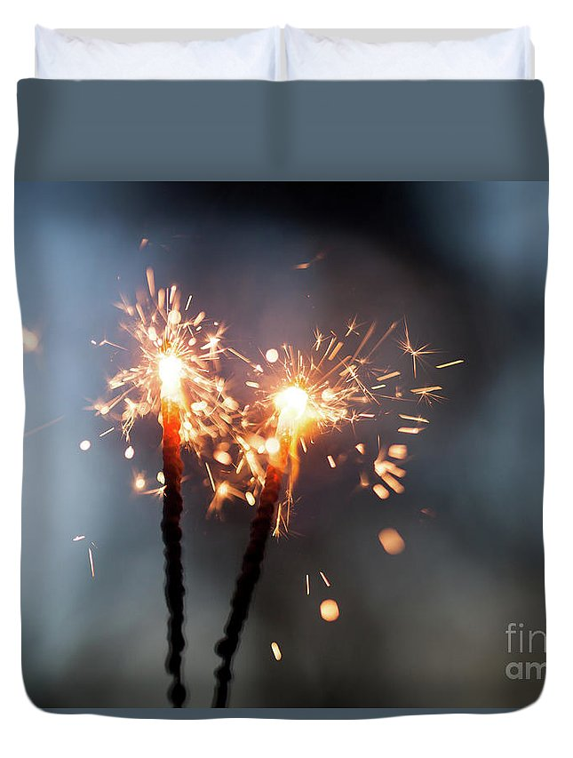 Blue Shape Duvet Cover featuring the photograph Sparkler by Kati Finell