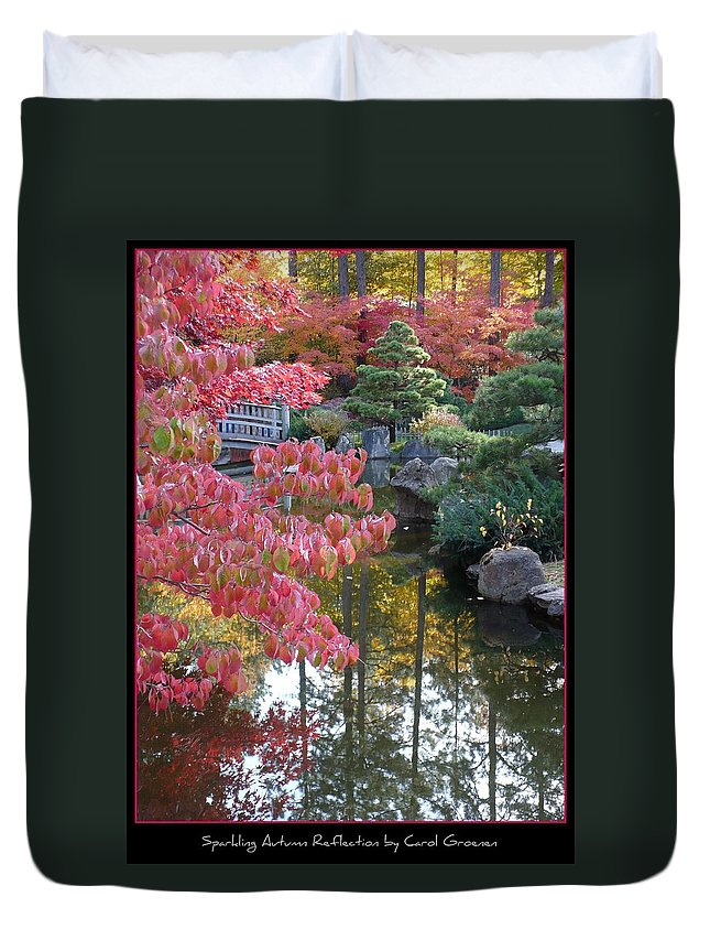 Fall Duvet Cover featuring the photograph Sparkling Autumn Reflection by Carol Groenen