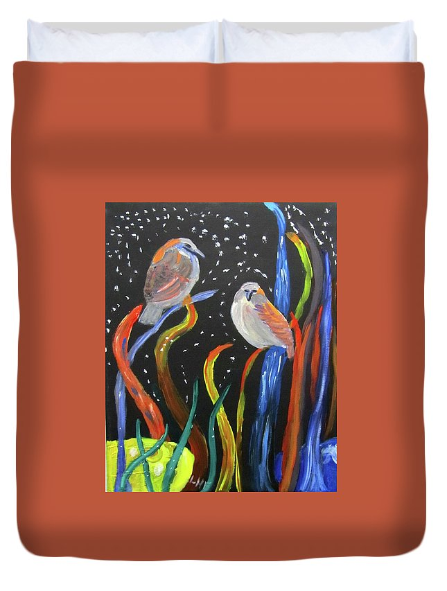 Sparrows Duvet Cover featuring the painting Sparrows Inspired By Chihuly by Linda Feinberg