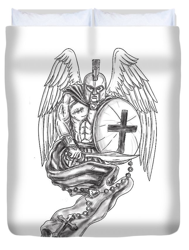 010649944109f  tattoo Duvet Cover featuring the digital art Spartan Warrior Angel Shield  Rosary Tattoo by Aloysius