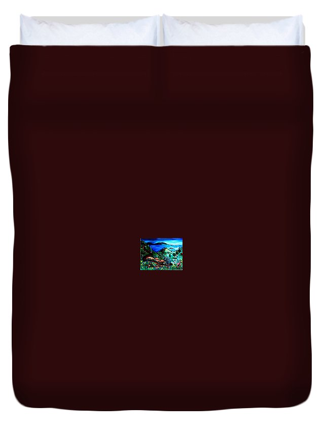 Landscape Duvet Cover featuring the painting Special Land by Andrew Johnson
