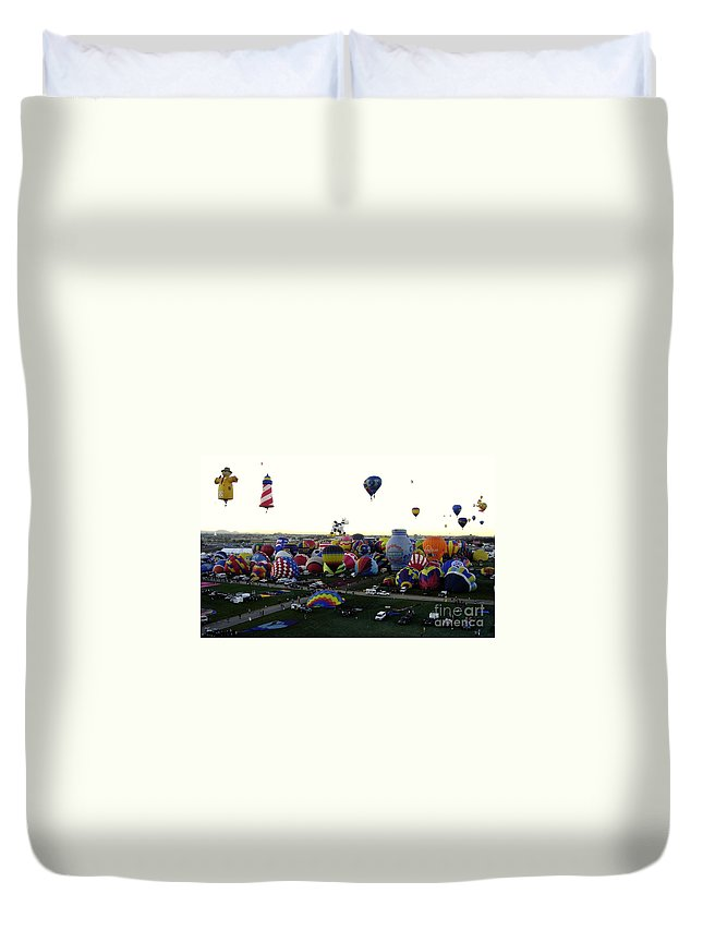 Hot Air Balloons Duvet Cover featuring the photograph Special Shapes by Mary Rogers